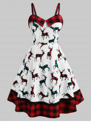 Plus Size Christmas Plaid Elk Print Dress -