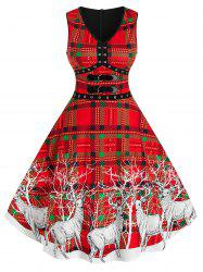 Elk Print Plaid Buckles Christmas Dress -