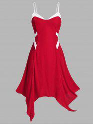 Plus Size Christmas Velvet Handkerchief Backless Cami Dress -