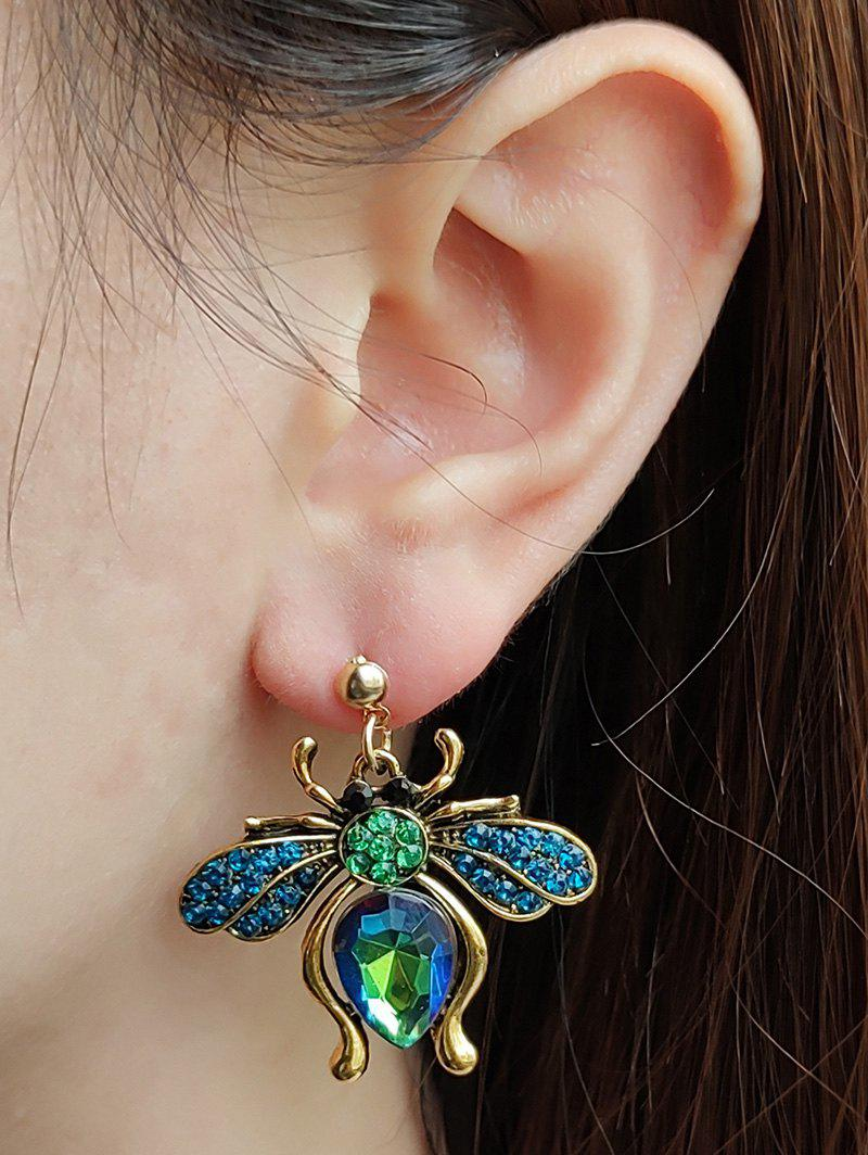 Trendy Faux Gem Bee Shape Drop Earrings