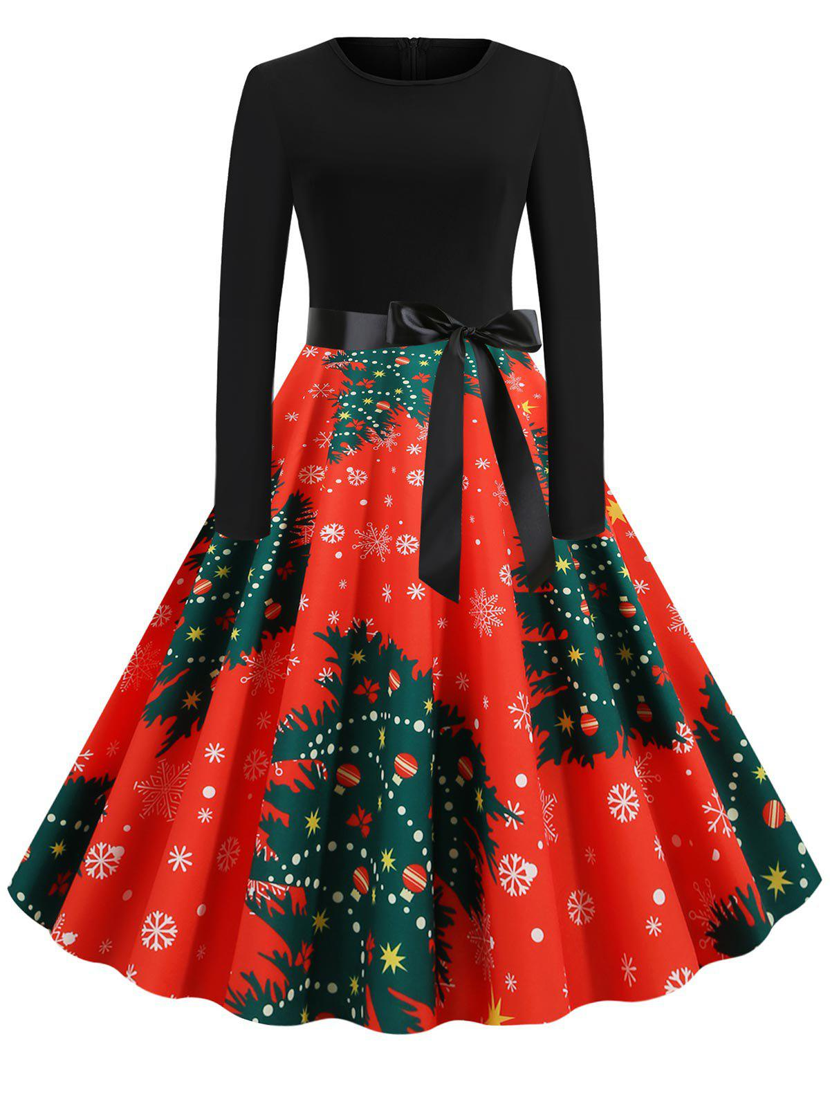 Fancy Plus Size Christmas Tree Print Pin Up Dress