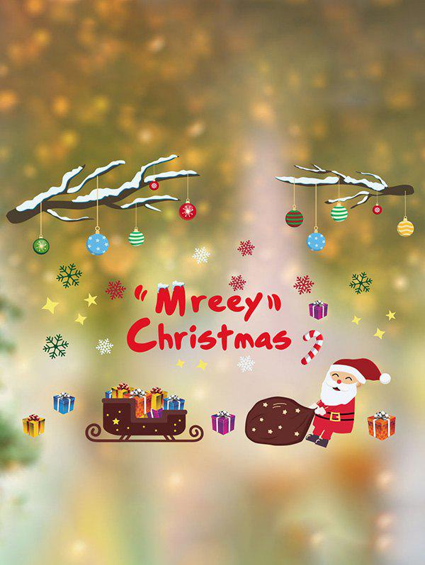 Trendy Merry Christmas Santa Print Wall Glass Stickers Set