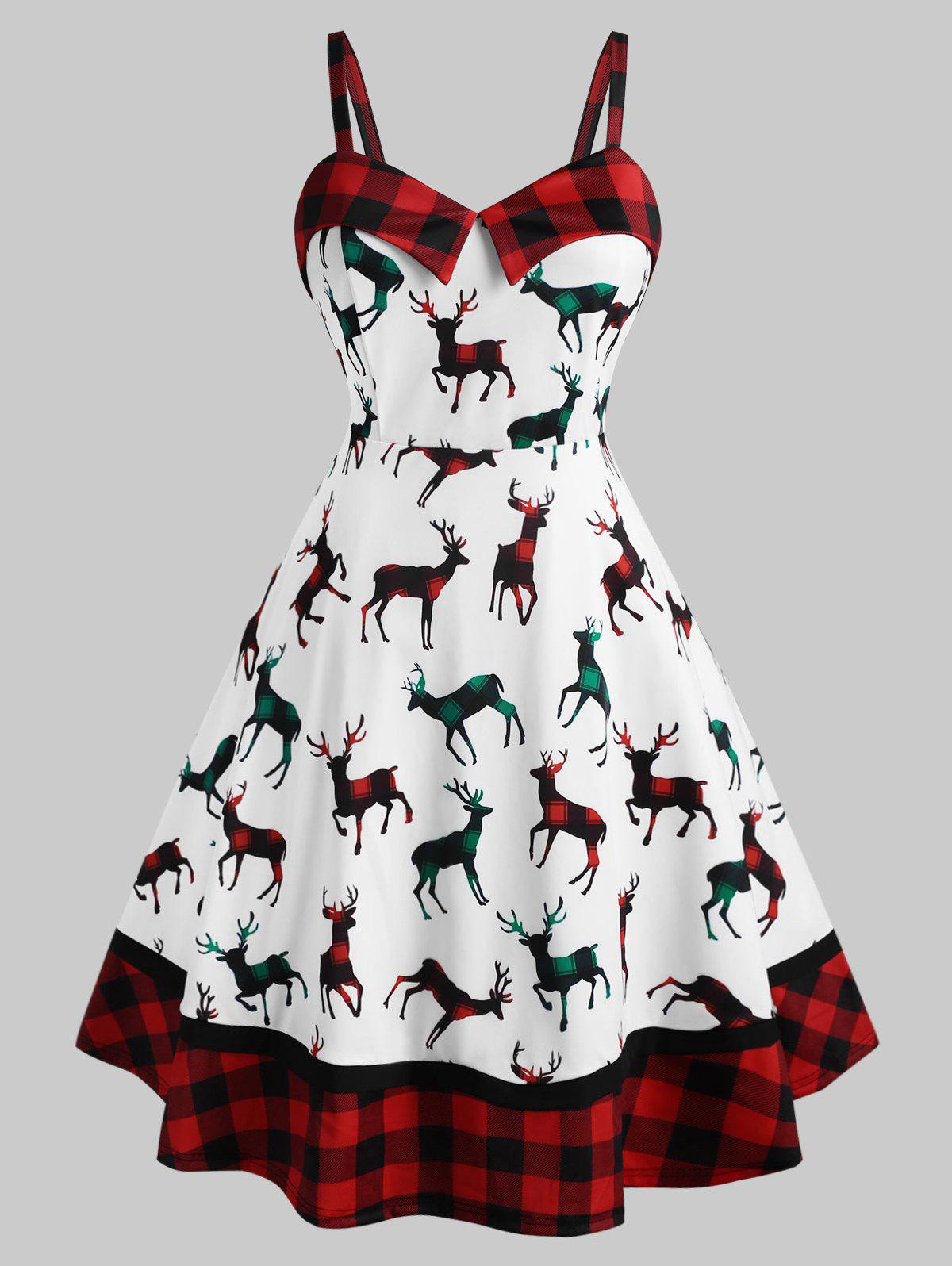 Buy Plus Size Christmas Plaid Elk Print Dress