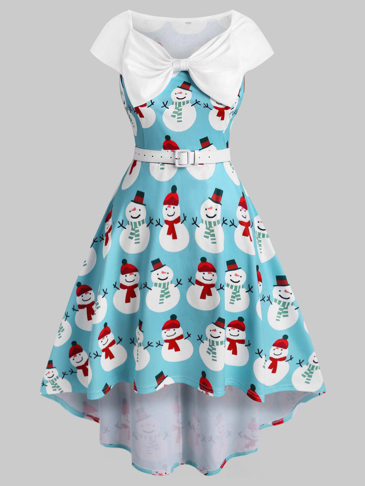 Store Plus Size Christmas Bowknot Snowman Print Dress