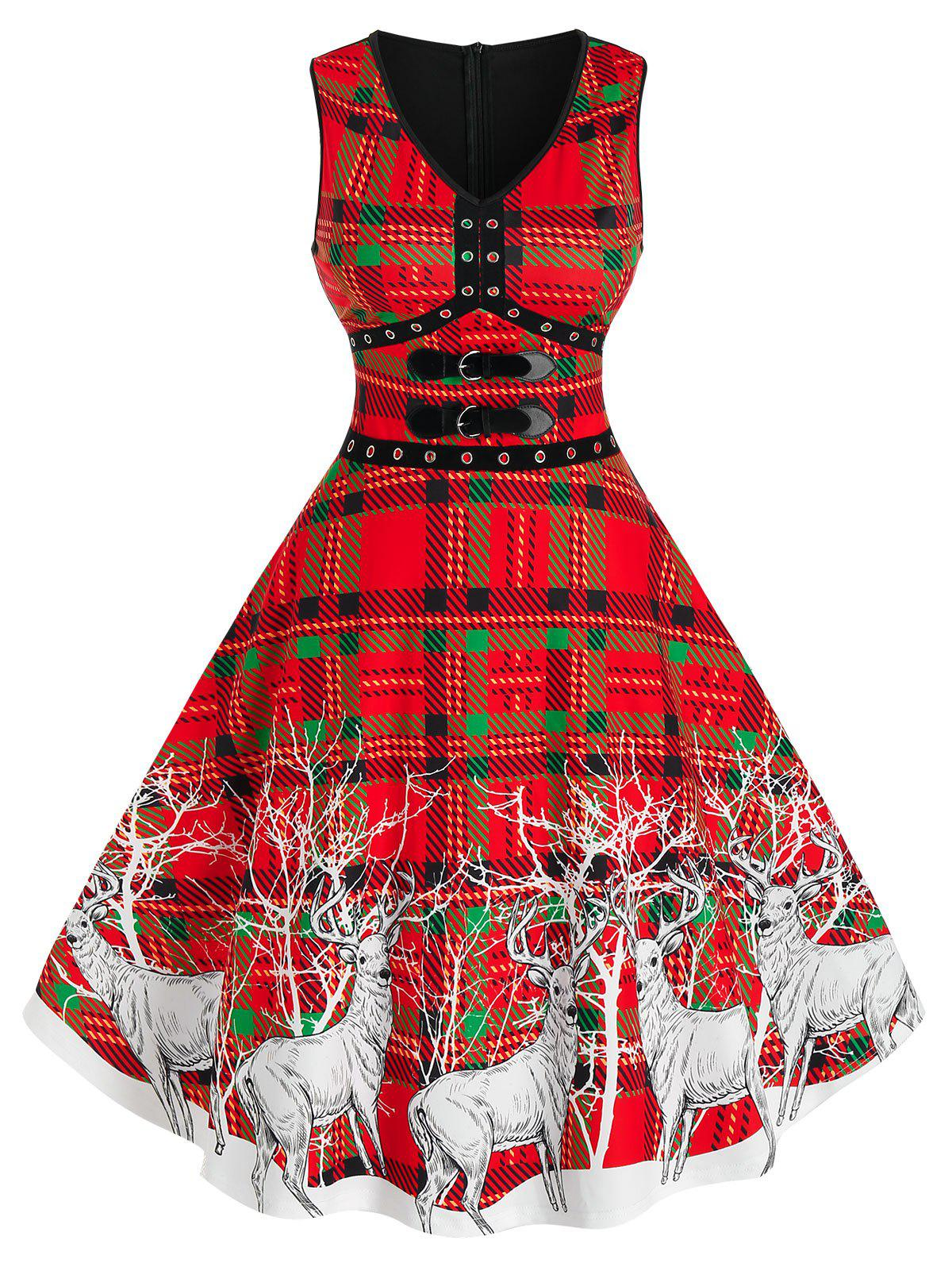 Trendy Elk Print Plaid Buckles Christmas Dress