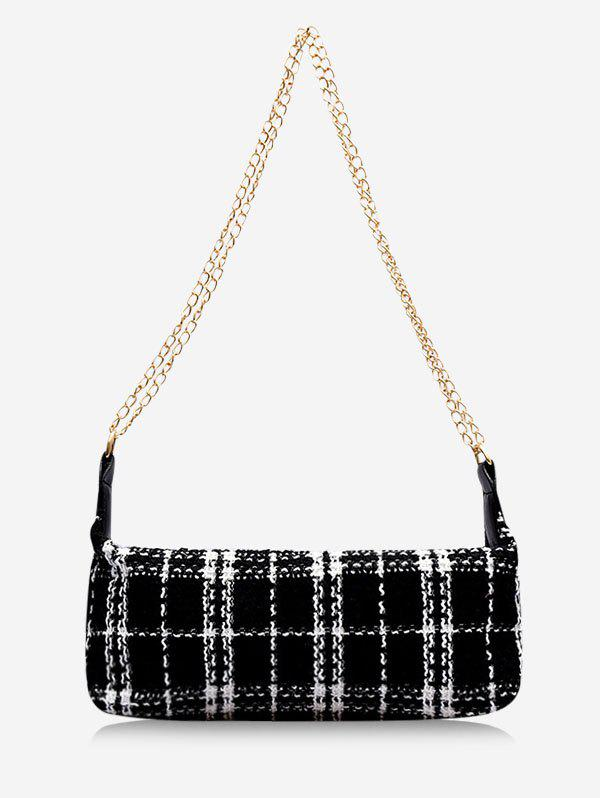 Hot Plaid Print Wool Blend Shoulder Bag
