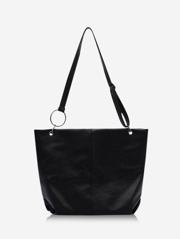 Trendy Solid O Ring Large Shoulder Bag