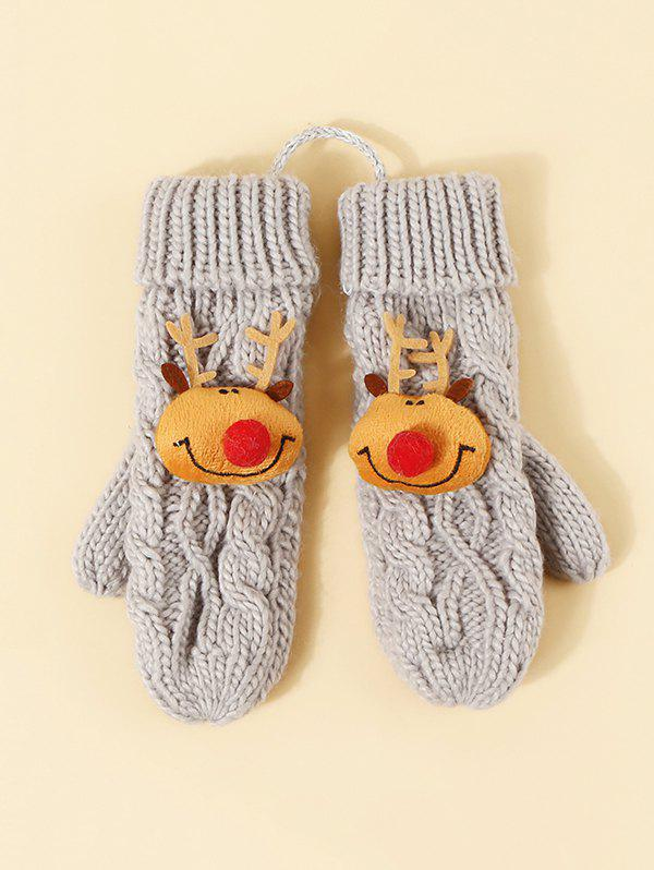 New Christmas Elk Pattern Knitted Mitten Gloves