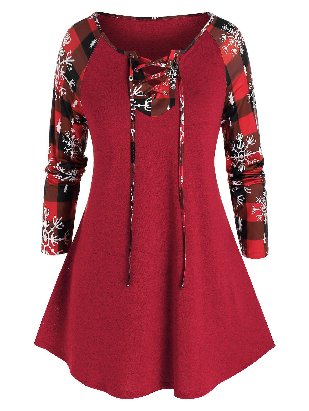 Fancy Plus Size Christmas Plaid Snowflake Lace-up Knitted Tee