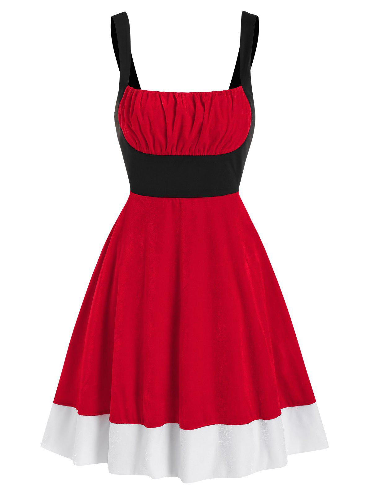 Chic Ruched Bust Colorblock Velvet Christmas Dress