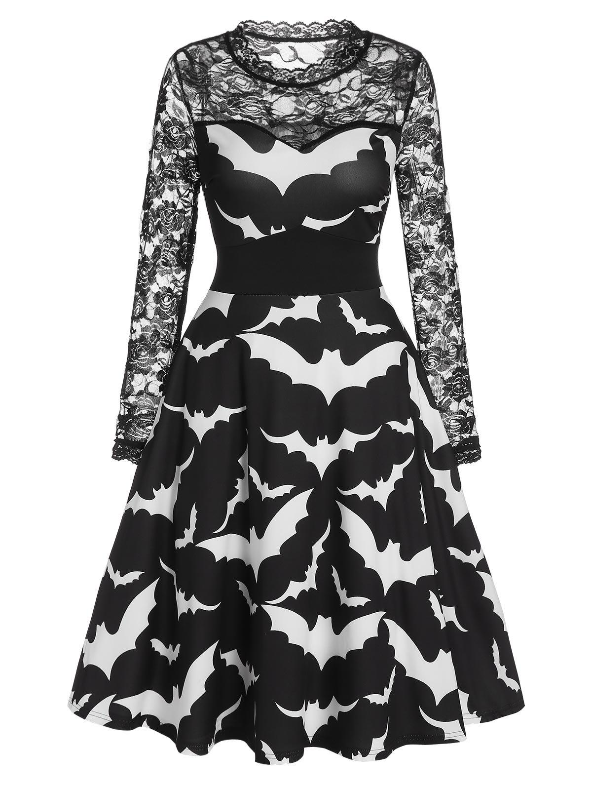 Trendy Halloween Bat Print Sheer Lace Sleeve A Line Dress