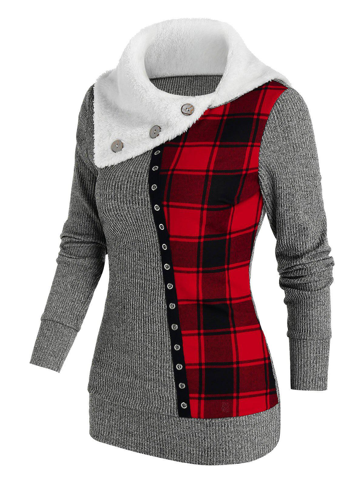 Hot Faux Fur Collar Plaid Patchwork Knitwear