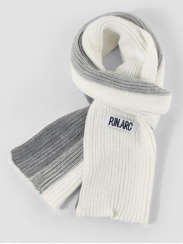 Colorblock Winter Long Knitted Scarf - WHITE