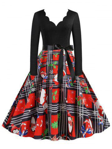 Christmas Plaid Santa Claus Scalloped Belted Dress