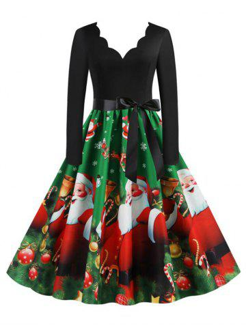 Christmas Berry Gift Santa Claus Print Scalloped Dress