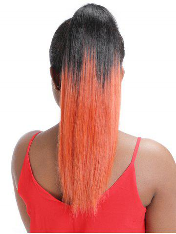 Long Straight Synthetic Gradient Hair Extension Ponytail - ORANGE