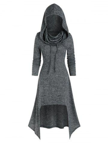 Hooded Lace Up High Low Midi Knitted Dress
