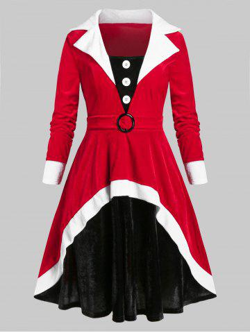 Plus Size Christmas Contrast Velvet A Line Waisted Dress - VALENTINE RED - 4X