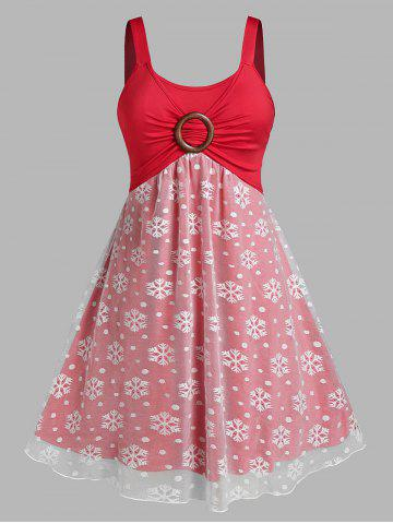 Plus Size Christmas Snowflake Ring Ruched Backless A Line Dress - LAVA RED - 3X