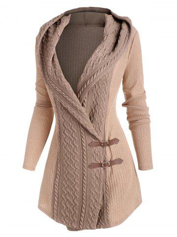 Colorblock Hooded Buckle Front Cardigan - LIGHT COFFEE - XXL