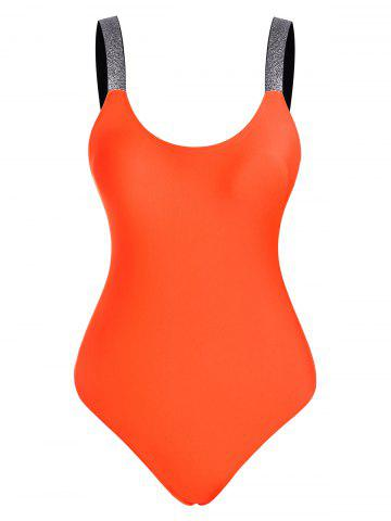 Backless Sparkle Strap One-piece Swimsuit - DARK ORANGE - L