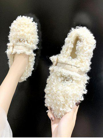 Teddy Faux Fur Buckle Strap Flat Shoes