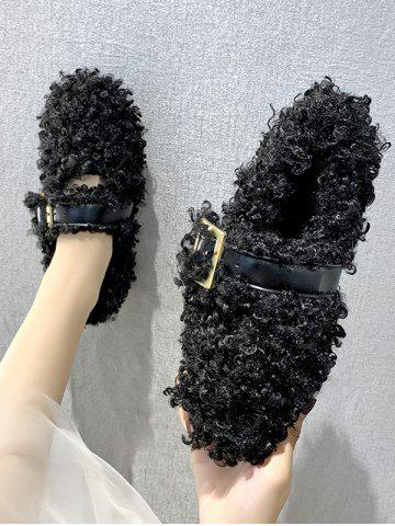 Teddy Faux Fur Buckle Strap Flat Shoes - BLACK - EU 40