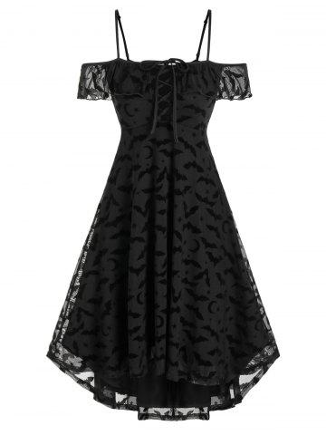 Halloween Bat Pattern Lace-up Off The Shoulder Mesh Dress