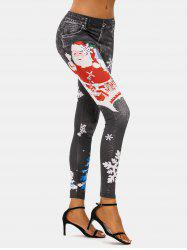 Christmas Tree Snowflake Santa Claus Skinny Jeggings -