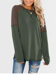Stitching Colorblock Long Sleeve Jersey Top -