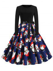 Christmas Penguin Santa Claus Plaid Belted Dress -