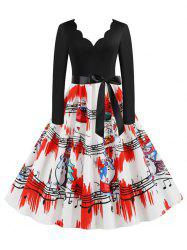 Christmas Santa Claus Scalloped A Line Retro Dress -