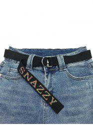 Letters Pattern Hot Drilling Canvas Buckle Belt -