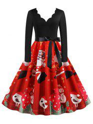 Christmas Santa Claus Long Sleeve Belted Retro Dress -