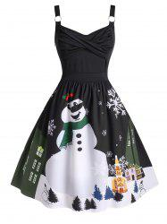 Plus Size Christmas Twisted Snowman Snowflake Ring Vintage Dress -