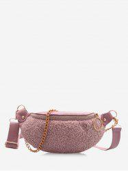 Teddy Faux Fur Panel Chain Crossbody Bag -