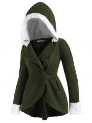 Hooded Fluffy Panel Wool Blend Plus Size Coat -