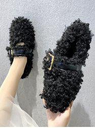 Teddy Faux Fur Buckle Strap Flat Shoes -