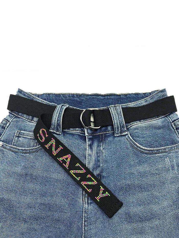 Hot Letters Pattern Hot Drilling Canvas Buckle Belt