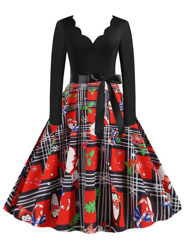 Affordable Christmas Plaid Santa Claus Scalloped Belted Dress