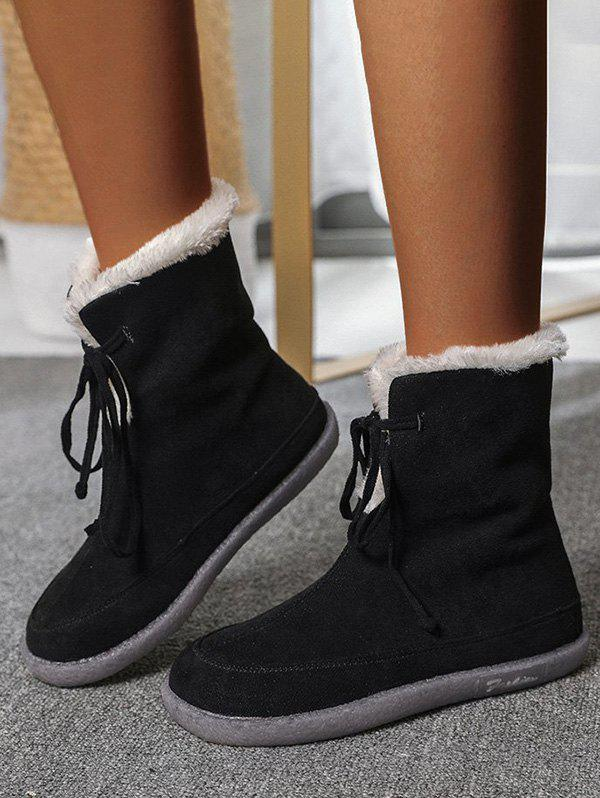 Store Outdoor Lace Up Fluffy Snow Boots