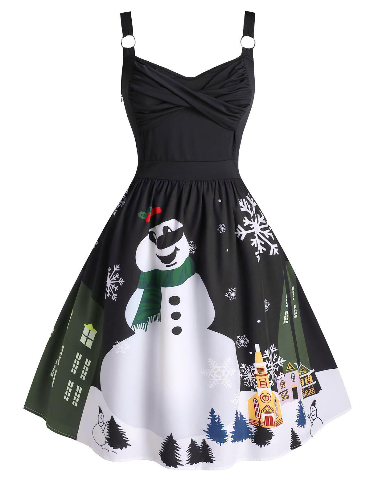Hot Plus Size Christmas Twisted Snowman Snowflake Ring Vintage Dress