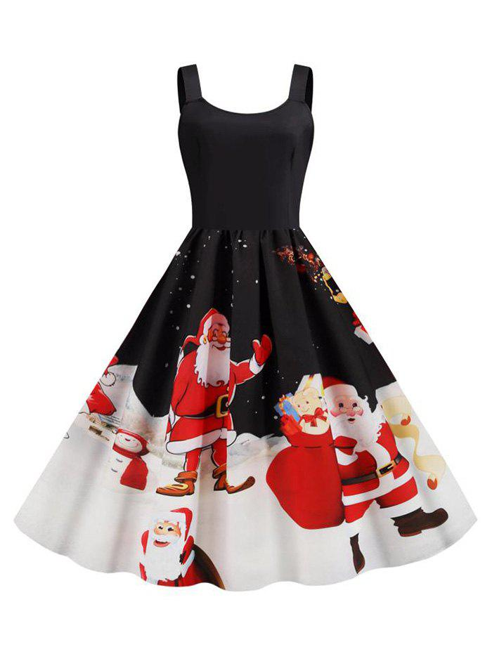 Trendy Christmas Santa Claus Snowflake Tank Dress