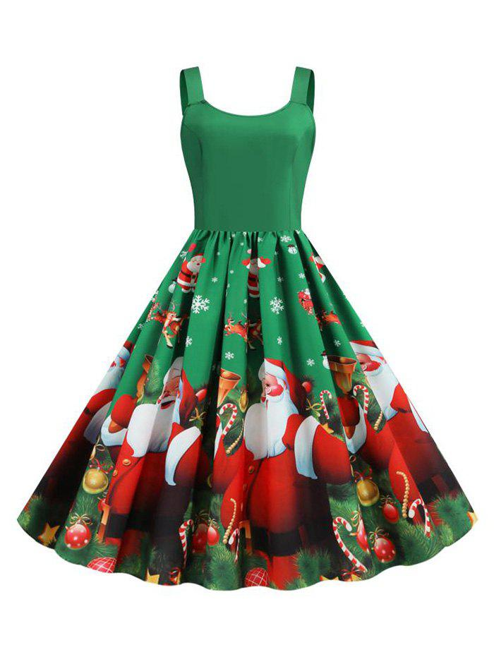 Hot Christmas Santa Claus Snowflake Tank Dress