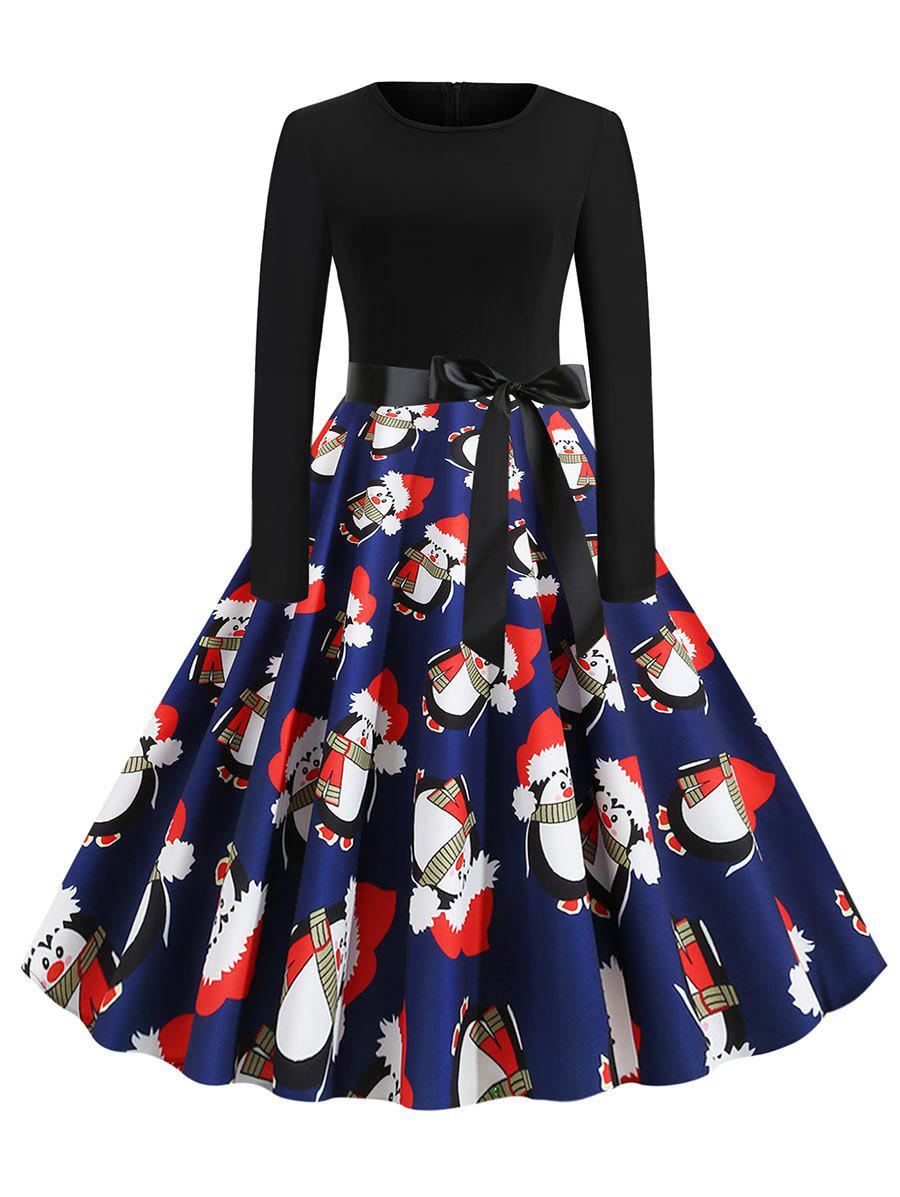 Shop Christmas Penguin Santa Claus Plaid Belted Dress
