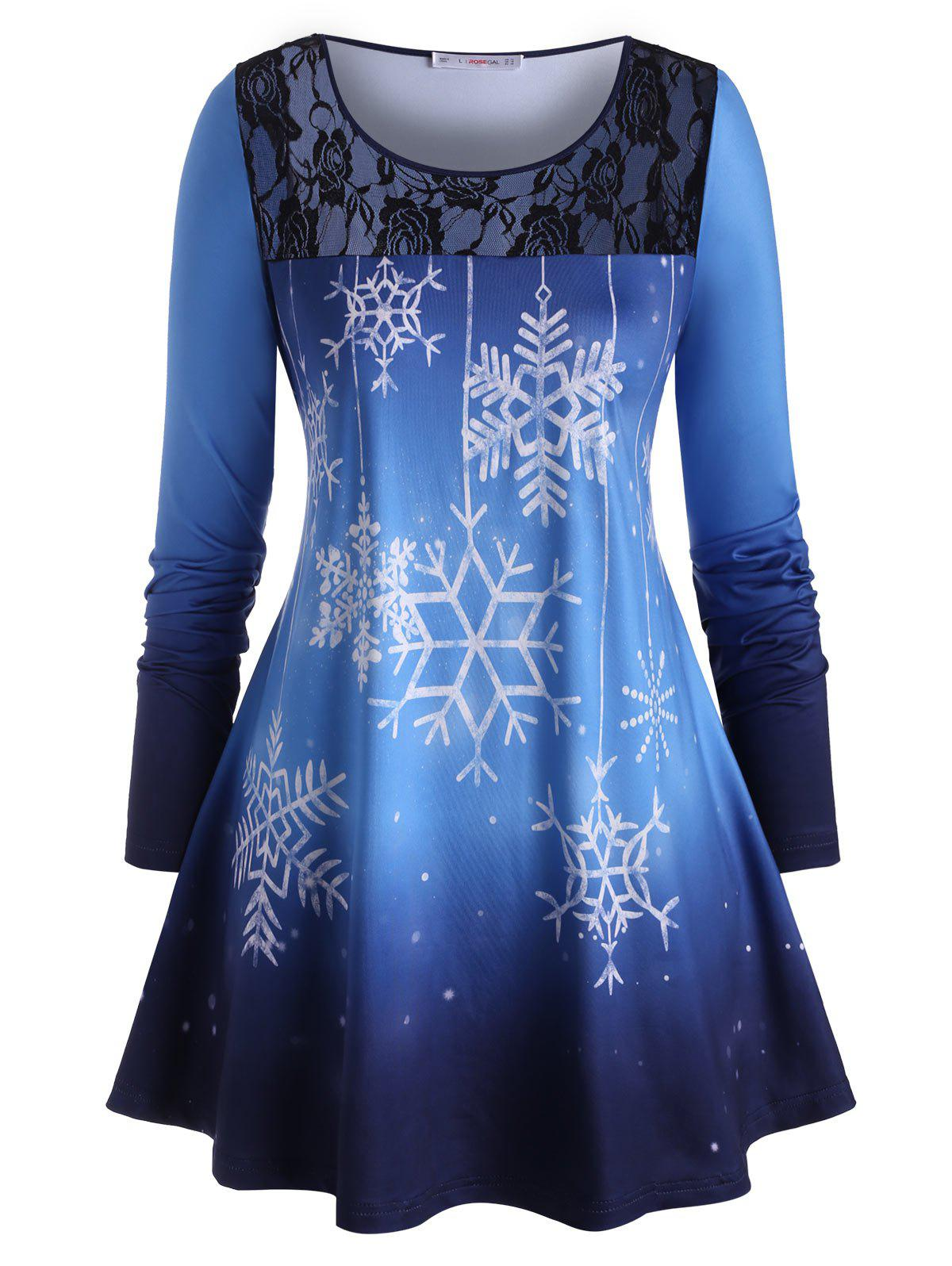 Hot Plus Size Christmas Snowflake Lace Panel Long Sleeve Tee