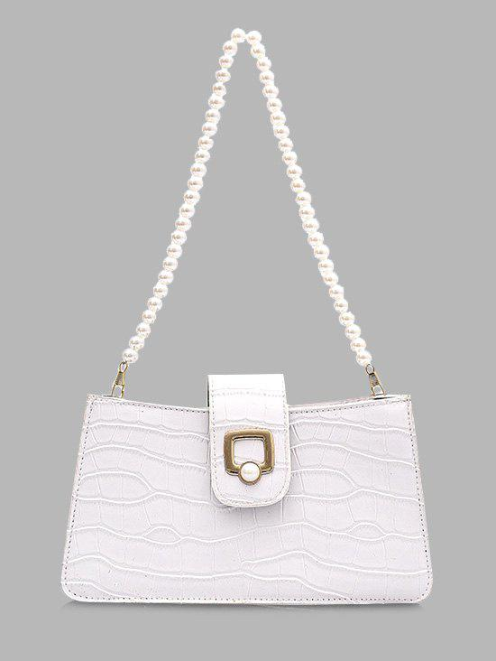 Hot Faux Pearl Strap Textured Shoulder Bag