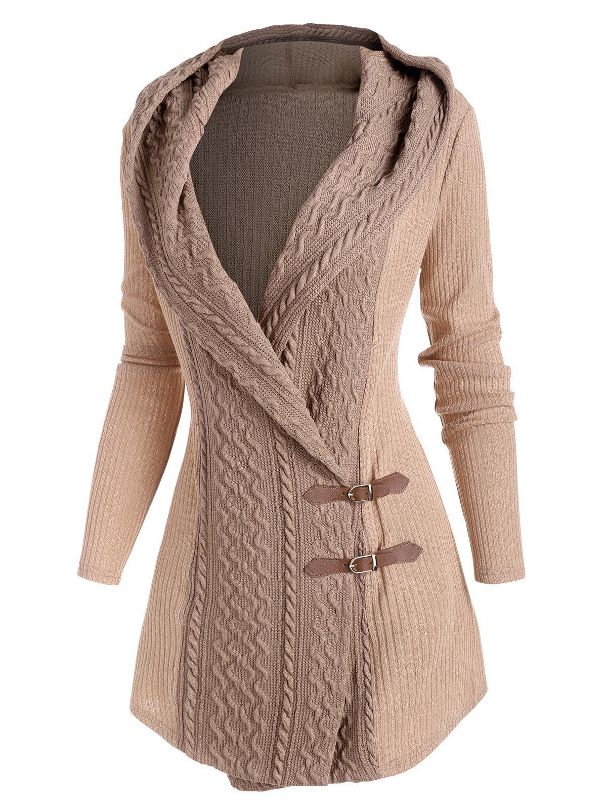 Hot Colorblock Hooded Buckle Front Cardigan
