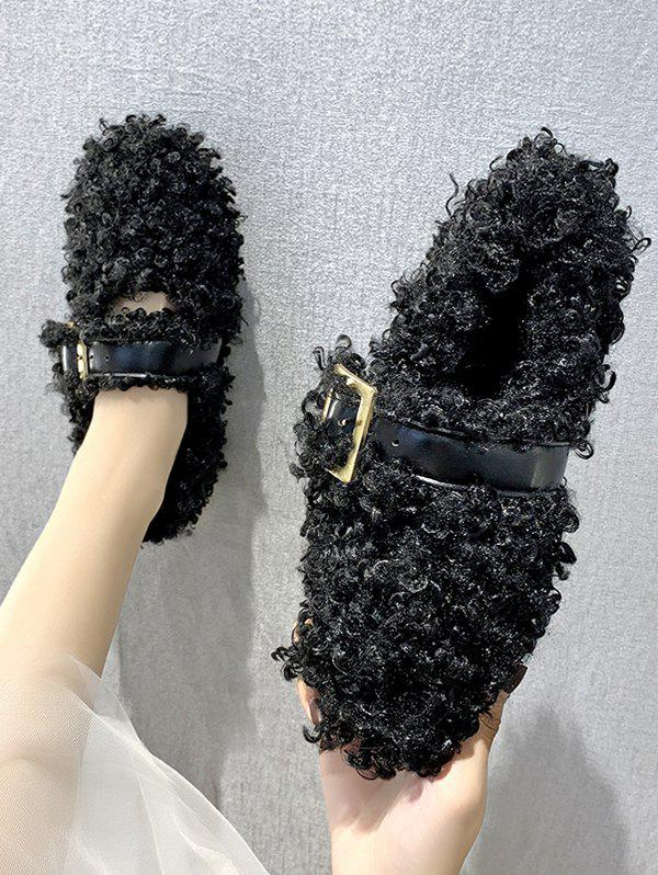 Store Teddy Faux Fur Buckle Strap Flat Shoes