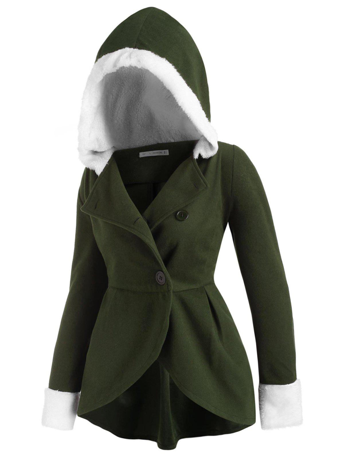 Affordable Hooded Fluffy Panel Wool Blend Plus Size Coat
